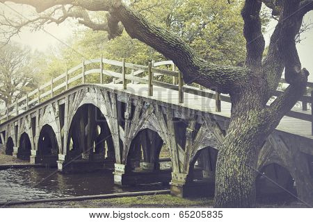 The footbridge in Corolla, North Carolina is on the national register of historic places.