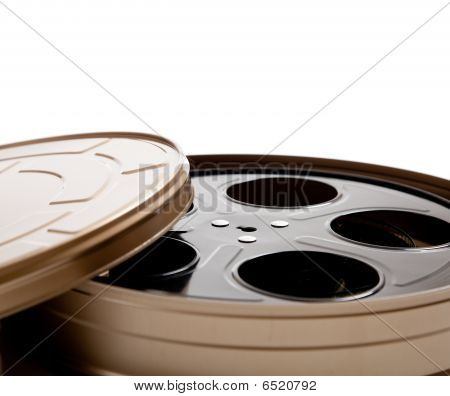 Movie Reel Canister On White With Copy Space
