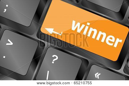 Winner Button On The Keyboard Key Close-up