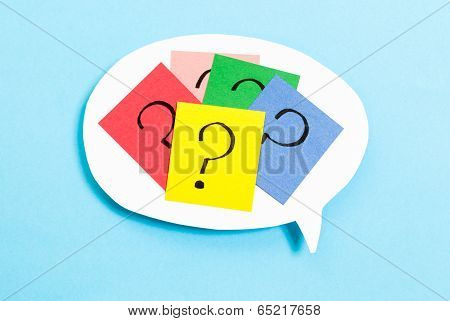 Thinking Concept on speech bubble With Question Mark On Blue Background