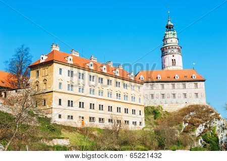 Castle with the famous round tower in Cesky Krumlov, Czech Republic