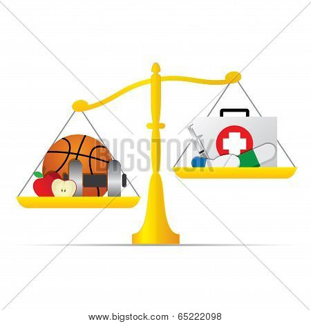 Balance Scale With Medical Care And Healthy Life