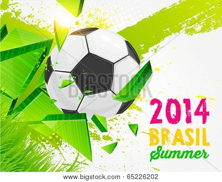 Brazil Summer 2014 Vector, Soccer Ball for Football Design. Abstract Green Background. Paint Splashes