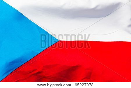 Czech Flag In Wind  Close Up