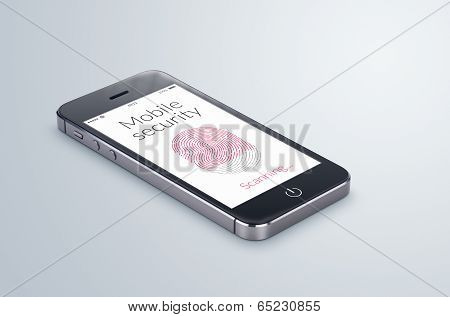 Black modern smartphone with mobile security fingerprint scanning on the screen lies on the gray surface. poster