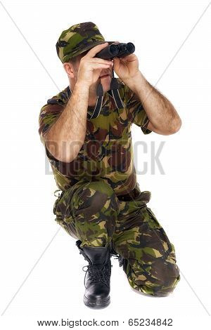 army soldier looking through binoculars isolated on white background poster