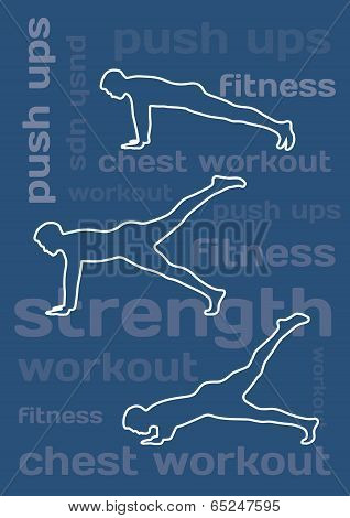 The Silhouettes Of Man Doing Push Ups On Blue Conceptual Background