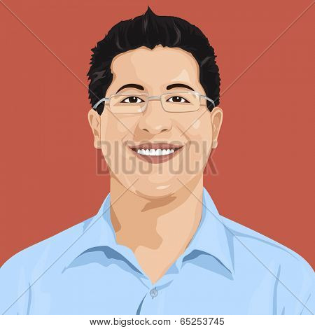 Smiling man with glasses, vector.