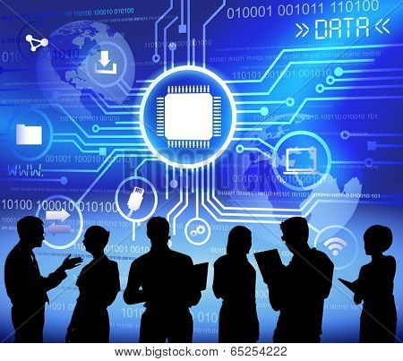 Technology and data themed illustration with business people silhouettes.