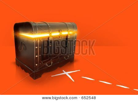 Gold Chest On Red Background