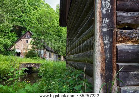 Old barn and water mill
