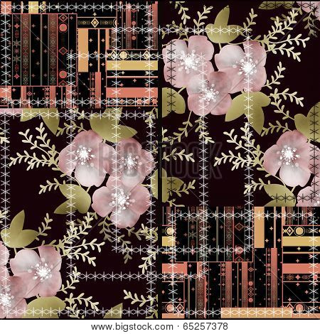 Patchwork seamless floral abstract pattern texture background poster
