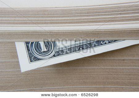 Dollar kept in book.