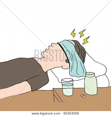 An image of a person resting in bed with a headache.