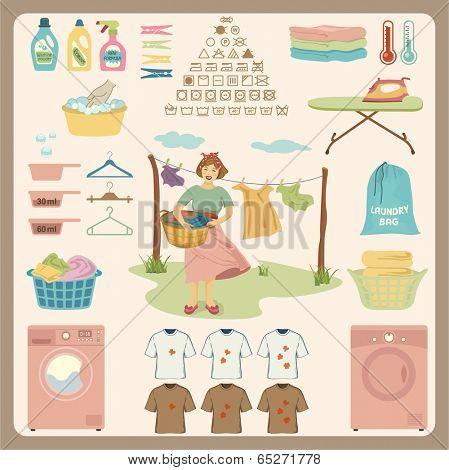 Laundry Design Set.