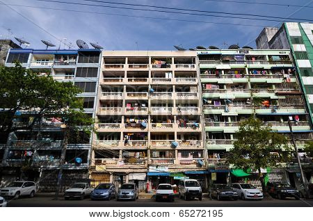 Yangon, Myanmar - October 12, 2013 - Facade Of Run-down Housing Block In The Indian Quarter