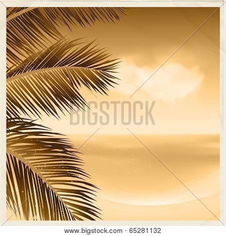 Vintage Sepia Tropical Scene