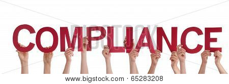 Many People Holding the Red Word Compliance Isolated poster