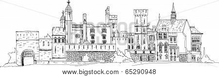 Sketch collection, Alton towers, old English castel