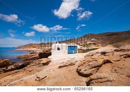 View of Ftelia beach in Mykonos cit,y Greece poster