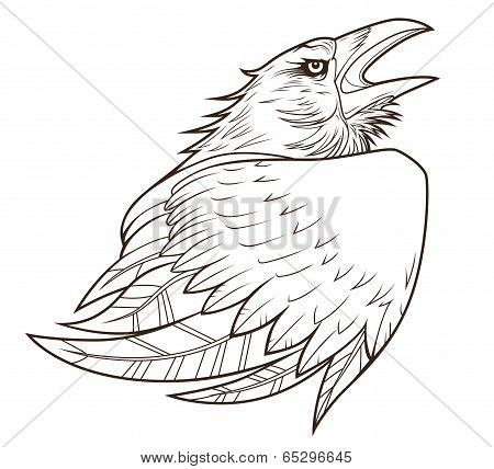 Monochrome stylized raven on the white background. poster