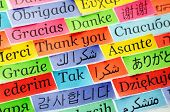 Thank You Word Cloud printed on colorful paper different languages accent on arabic poster