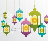 Vector Muslim Oil Lamp Graphics. Translation: Ramadan Kareem - May Generosity Bless You During The Holy Month. poster