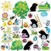 cartoon set with mole working in a garden, gardening collection for little kids, images isolated on white poster