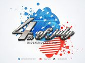 Poster, banner or flyer design with stylish text 4th of July on gunny American flag colors background for Independence Day celebration. poster