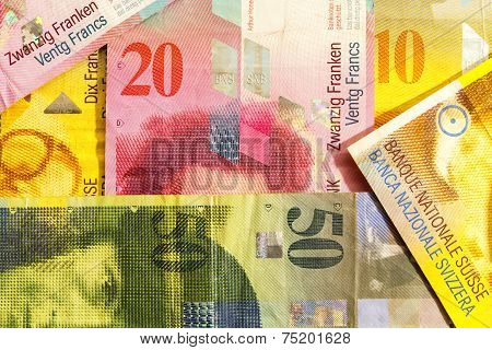 Various Swiss Francs Paper Currency Notes