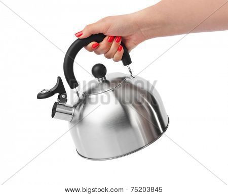 Stovetop whistling kettle in hand isolated on white background