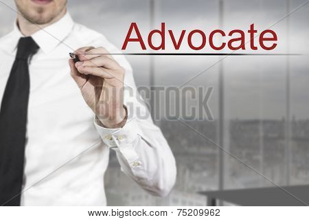 Businessman Writing Advocate In The Air