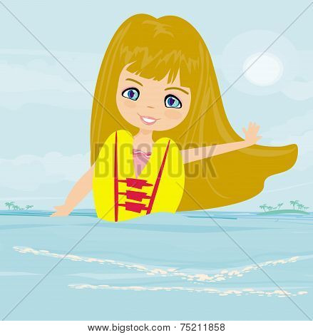 Happy Girl In Lifejacket