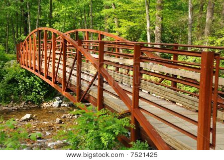 Red Bridge In The Countryside