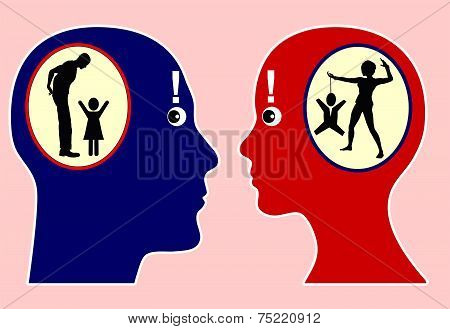 Man and woman with discrepancy between self awareness and external perception, how we see and describe ourselves and how others see and would describe us poster