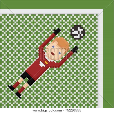 pixel art illustration football soccer goalkeeper in red uniform catches the ball