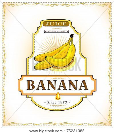 Ripe bananas on a product label