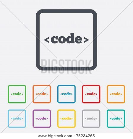 Code sign icon. Programming language symbol. Round squares buttons with frame. Vector poster
