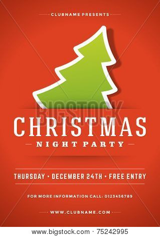 Christmas night party poster or flyer vector illustration. Merry christmas design template vector background and christmas tree.