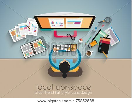 Ideal Workspace for teamwork and brainstorming with Flat style. A lot of design elements are included: computers, mobile devices, desk supplies, pencil,coffee mug, sheets,documents and so on