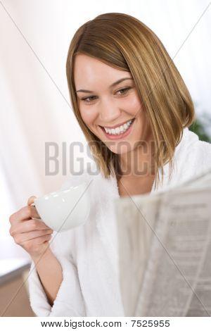 Breakfast - Happy Woman Reading Newspaper Drink Coffee