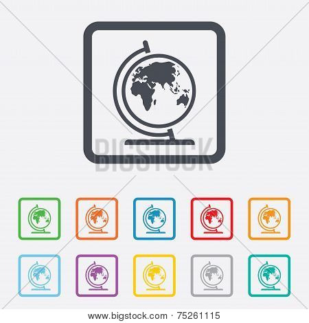 Globe sign icon. World map geography symbol. Globe on stand for studying. Round squares buttons with frame. Vector poster