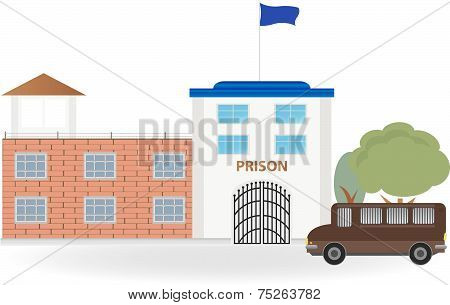 The prison and the prison bus. Cartoon vector poster