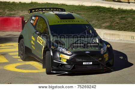 BARCELONA - OCT,23: Lorenzo Bertelli of Italy and Mitia Dotta of Italy in their FORD Fiesta R5 during the Rally Catalunya-Costa Daurada of the WRC Spain on October 23, 2014 in Barcelona, Spain