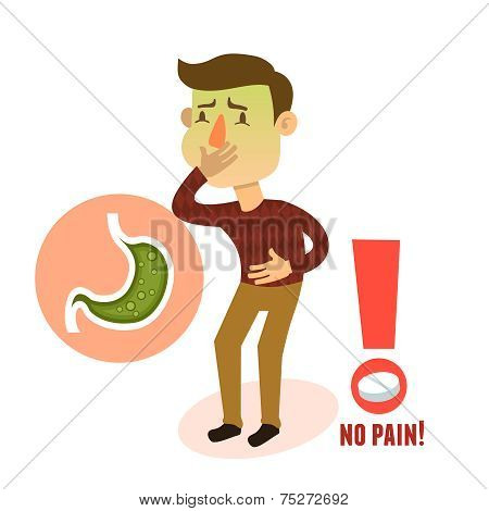 Sick stomach ache nausea male person character with pill vector illustration poster