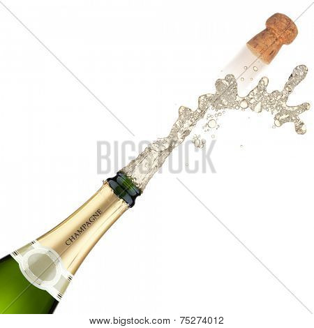 Champagne bottle explosion, isolated on the white background.