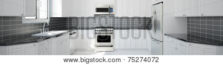 Panorama of new empty white kitchen with black tiles (3D Rendering)