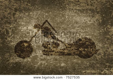 Motorcycle On A Background Grunge With Space For Text.
