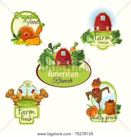 Farm fresh labels colored set