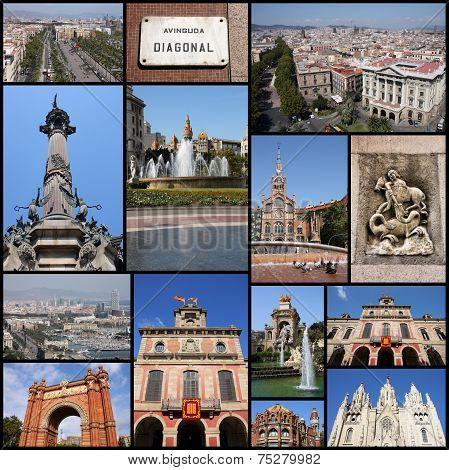 Photo collage from Barcelona Spain. Collage includes major landmarks like Placa Catalunya Tibidabo and Barceloneta. poster